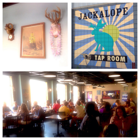 clockwise from top left: jackalope taxidermy adorns the walls of the Jackalope taproom; mural on the wall outside the entrance - hard to miss if you're driving south on 8th Ave.; the taproom on a Saturday afternoon