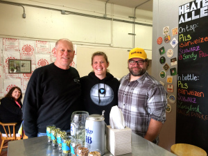 Heater Allen Brewery owner, Rick Allen, daughter & assistant brewer, Lisa Allen and sales/delivery person, Patrick keep the beer flowing.